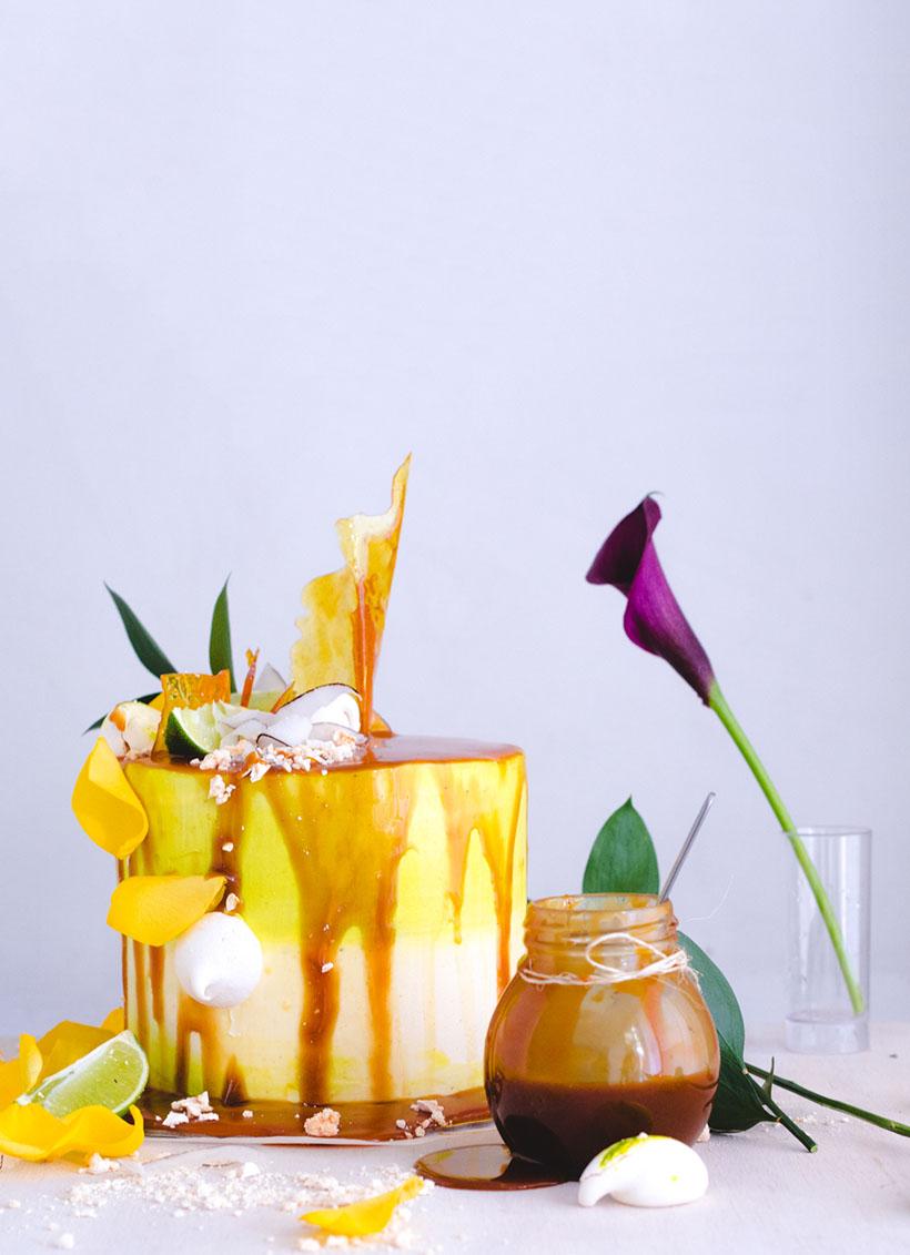 coconut lemon caramel cake