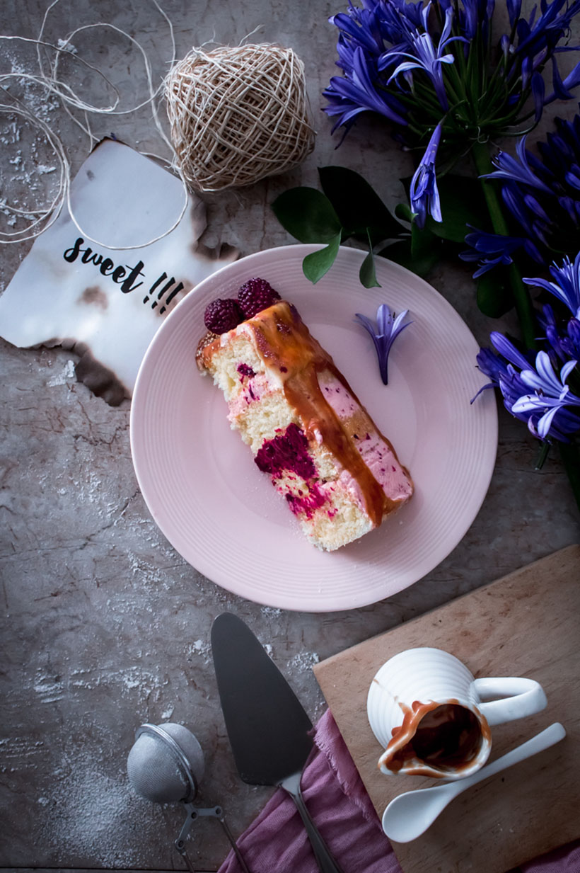 Blackberry Greek Yogurt and caramel layer cake